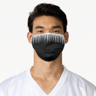 icicles and snowflakes on black adult cloth face mask