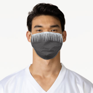 icicles on gray adult cloth face mask