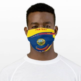 Idaaho Flag w/ Stars Stripes on Yellow Gold Adult Cloth Face Mask