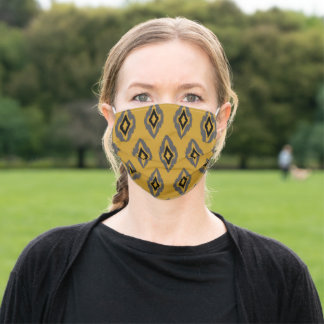 Ikat pattern mustard yellow grey gray black adult cloth face mask