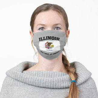 Illinois flag with state motto adult cloth face mask