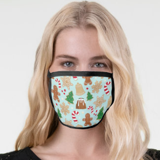 Illustrated Christmas Cookies and Pudding Holiday Face Mask