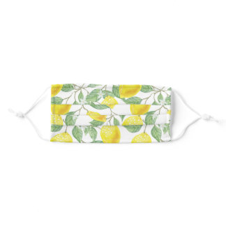Illustrated Lemon and Leaves Pattern Adult Cloth Face Mask