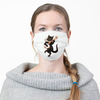 Illustration of Cat playing Banjo - crazy cat Adult Cloth Face Mask