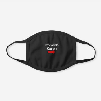 I'm with Karen Funny Halloween Costume Black Cotton Face Mask
