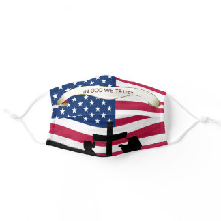 In God We Trust Praying America | USA Flag Pattern Adult Cloth Face Mask