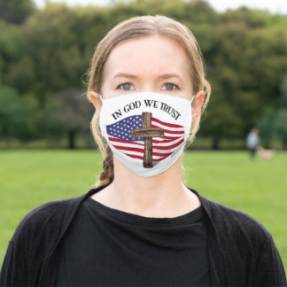 In God We Trust With Cross And Flag Adult Cloth Face Mask