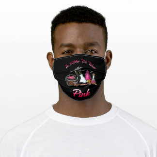 In October We Wear Pink Black Cat Witch Adult Cloth Face Mask