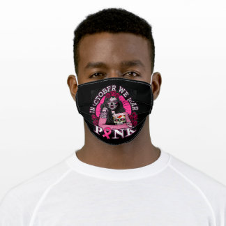 In October We Wear Pink Skull Womens Breast Cancer Adult Cloth Face Mask