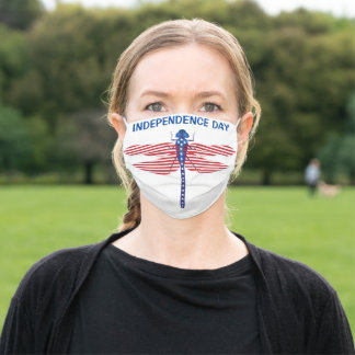 Independence Day with Patriotic Dragonfly Adult Cloth Face Mask