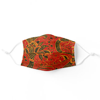 India, beautiful vintage design in deep dark red adult cloth face mask