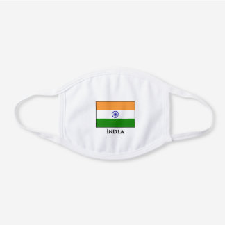 India (Indian) Flag  White Cotton Face Mask