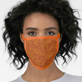 Indian Elephant Paisley Pattern in Yellow Brown Face Mask