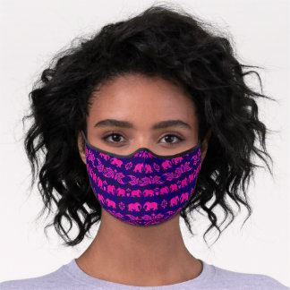Indian Elephant Pink Purple Asian Pattern Premium Face Mask