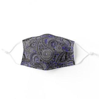 Indigo Blue and Black Paisley Pattern Adult Cloth Face Mask