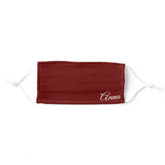 Initials Monogram Simple Minimal Cute Trendy Red Adult Cloth Face Mask