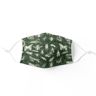 Insects Bugs Classic Style Cream and Hunter Green Adult Cloth Face Mask