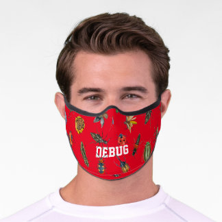 Insects washable reusable unisex red premium face mask