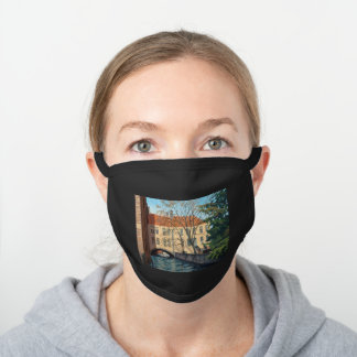 Inviting Bruges Canel Impressionistic Oil Painting Black Cotton Face Mask