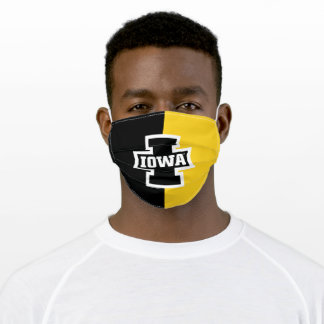 Iowa Logotype Colorblock Adult Cloth Face Mask