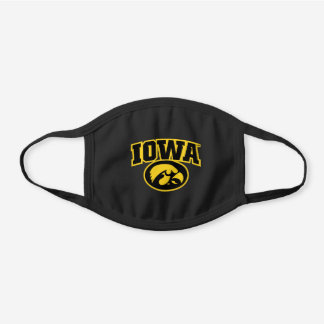 Iowa Logotype with Hawkeye Black Cotton Face Mask