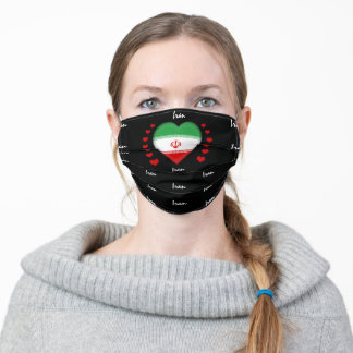 Iran Flag & Heart, Iranian Flag Mask/sports fans Adult Cloth Face Mask
