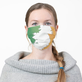 Ireland map in Irish flag colors distressed style Adult Cloth Face Mask