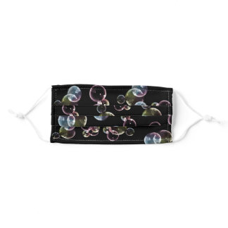Iridescent floating bubbles on black adult cloth face mask
