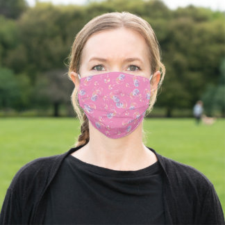 Iridescent floating bubbles on pink adult cloth face mask