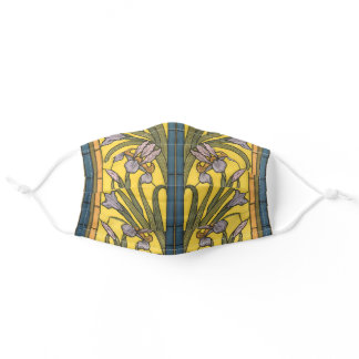 Iris Flower Art Nouveau Stained Glass Pattern Adult Cloth Face Mask