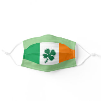 Irish Flag Face Mask with Four Leaf Clover