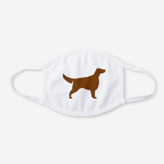 Irish Setter Dog Breed Silhouette White Cotton Face Mask