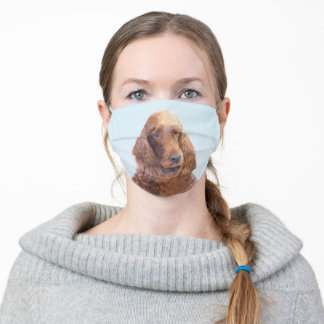 Irish Setter Painting - Cute Original Dog Art Adult Cloth Face Mask