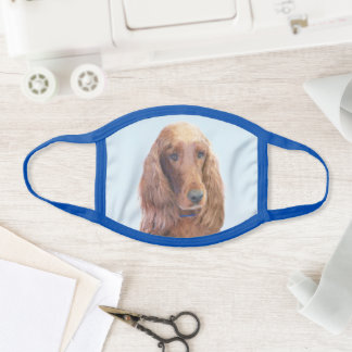 Irish Setter Painting - Cute Original Dog Art Face Mask