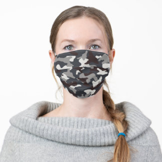 Iron Gray Camouflage Camo Pattern Modern Masculine Adult Cloth Face Mask