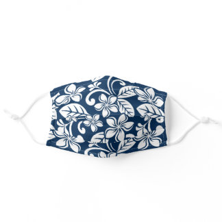 ISLAND PLUMERIA (NAVY BLUE) Face Mask