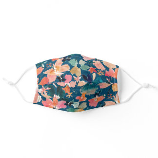 ISLAND TIME Tropical Watercolor Floral on Indigo Adult Cloth Face Mask