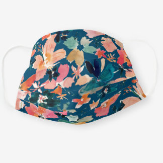 ISLAND TIME Tropical Watercolor Floral on Indigo Cloth Face Mask
