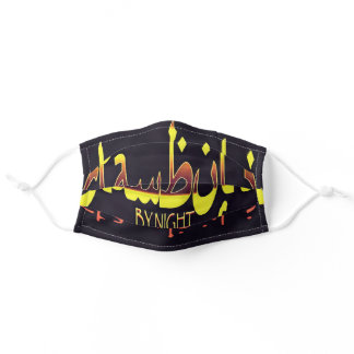 Istanbul By Night Skyline Cityscape Text Adult Cloth Face Mask