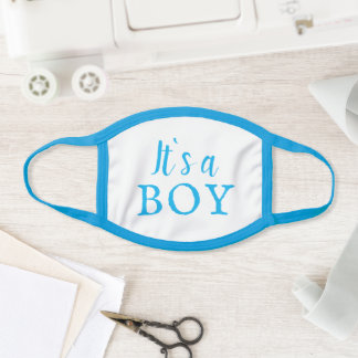 It`s a Boy Blue Typography Baby Boy Baby Shower Face Mask