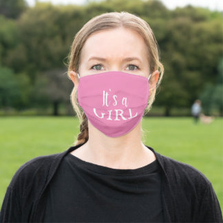 It`s a Girl Pink Typography Baby Girl Baby Reveal Adult Cloth Face Mask