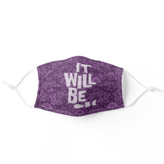 It Will Be OK Calming Purple Floral Damask Adult Cloth Face Mask