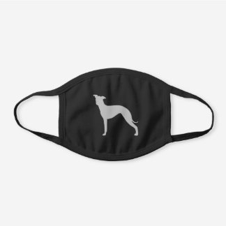 Italian Greyhound Dog Breed Silhouette Black Cotton Face Mask
