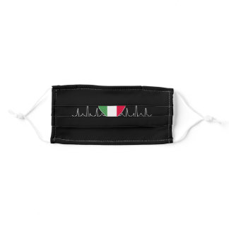 Italy Heartbeat Flag Adult Cloth Face Mask