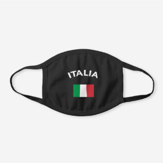 Italy Italian Flag Black Cotton Face Mask