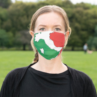 Italy map in Italian flag colors distressed style Adult Cloth Face Mask