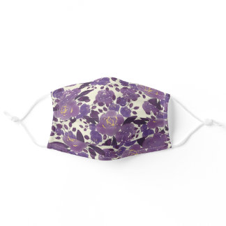 Ivory Gold Lavender Purple Watercolor Floral Adult Cloth Face Mask