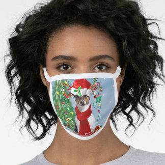 Jack Russell Terrier Dog in Snow Christmas Gifts   Face Mask