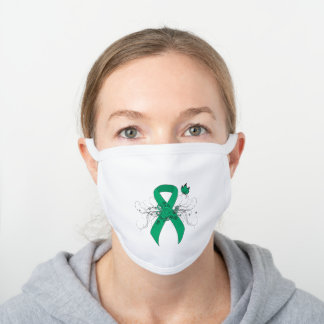 Jade Awareness Ribbon with Butterfly White Cotton Face Mask