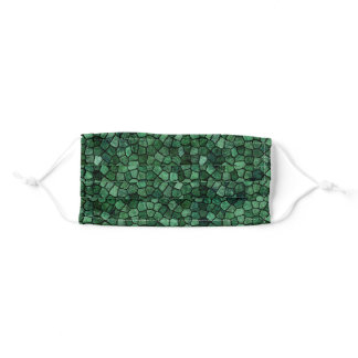 Jade Green Cobbled Patchwork Terrazo Pattern Adult Cloth Face Mask